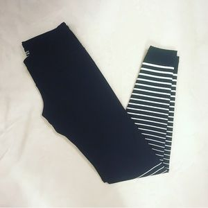Old Navy Black and White Striped Workout Leggings